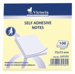 Victoria Öntapadó jegyzettömb 75x75 mm 100 lap sárga (LV7575)
