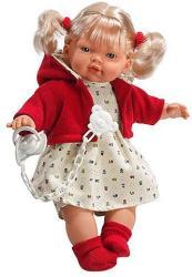 Llorens Maria síró baba piros kardigánban - 33 cm