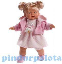 Llorens Maria síró baba rózsaszín kardigánban - 33 cm
