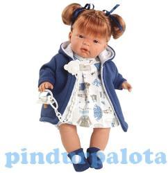 Llorens Kate síró baba kék ruhában - 38 cm