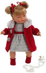 Llorens Ruth síró baba szürke kötött ruhácskában - 38 cm
