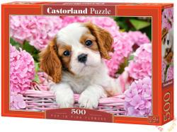 Castorland Kutyakölyök rózsaszín virágok közt 500 db-os (52233)