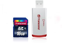 Transcend SDHC 16GB Class 10 + P2 Card Reader TS16GSDHC10-P2