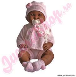 Llorens Bebe fetita neagra in hainute si sapca roz 45cm (45022)