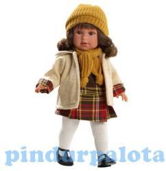 Llorens Martina baba kockás ruhácskában - 40 cm