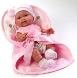 Llorens Csecsemő baba rózsaszín sapiban, takaróval - 26 cm