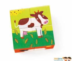 DJECO Fa kocka puzzle - Meuh boci