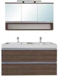 Leziter SOL 120 komplett fürdőszoba bútor, rauna szil, 3 ajtós, tükrös felső résszel SOL120TÜRSZ