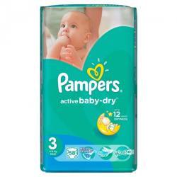 Pampers Active Baby-Dry 3 Midi (4-9 kg) Value Pack - 58 buc