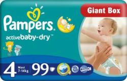 Pampers Active Baby 4 Maxi (7-14 kg) Economy Box - 99 buc