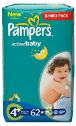 Pampers Active Baby 4 Maxi Plus (9-16 kg) Jumbo Pack - 62 buc
