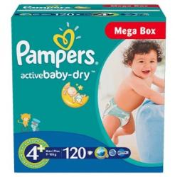 Pampers Active Baby 4 Maxi Plus (9-16 kg) Mega Box - 120 buc