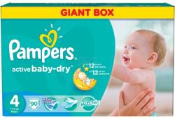 Pampers Active Baby-Dry 4 Maxi (7-14 kg) Giant Box - 90 buc