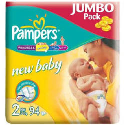 Pampers New Baby 2 Mini (3-6 kg) Jumbo Pack - 94 buc