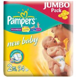 Pampers New Baby 2 Mini (3-6 kg) Jumbo Pack - 94 buc
