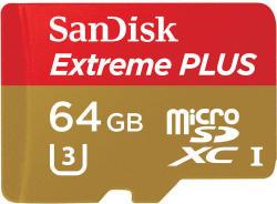 SanDisk Extreme Plus MicroSDXC 64GB Class 10 U3 SDSQXSG-064G-GN6MA