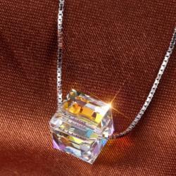 Swarovski Ezüst nyaklánc kocka medállal