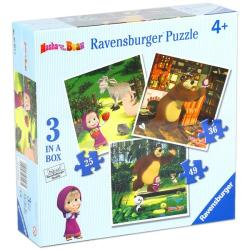 Ravensburger Mása és  medve - Masha and the Bear 3 az 1-ben puzzle