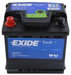 Exide Excell 50Ah EN 450A Borna inversa EB501