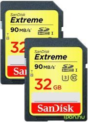 SanDisk 2x Extreme SDHC 32GB Class 10 U3 SDSDXNE-032G-GNCI2