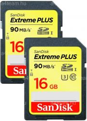 SanDisk 2x Extreme Plus SDHC 16GB Class 10 U3 SDSDXSF-016G-GNCI2