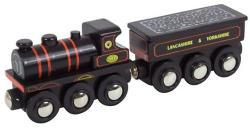 Bigjigs Toys Fekete mozdony szenes vagonnal KWVR 957