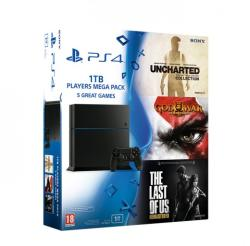 Sony Playstation 4 Players Megapack 1TB (PS4 1TB) + Uncharted Trilogy + God of War III Remastered + Last of Us Remastered