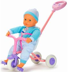 Falca Toys Puha baba zenélő triciklivel - 45 cm