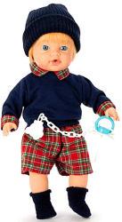 Falca Toys Síró fiú baba skót-kockás ruhában - 35 cm