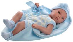 Llorens Újszülött kisfiú baba kék takaróval - 35 cm