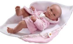 Llorens Újszülött lány baba rózsaszín köntösben - 35 cm
