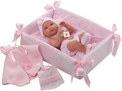 Llorens Újszülött baba kisággyal - 35 cm