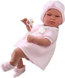 Llorens Újszülött baba rózsaszín ruhában - 43 cm