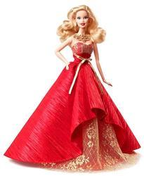 Mattel Barbie 2014 Holiday: Papusa Barbie de colectie in rochie de seara rosie (BDH13)