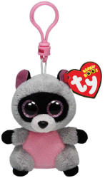 TY Inc Beanie Boos Clip - Rocco, a szürke-rózsaszín mosómedve 8,5cm
