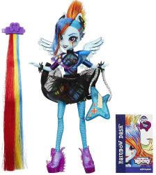 Hasbro Equestria Girls: Rainbow Rocks -  Rainbow Dash cu accesorii de par (B1038)