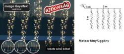 DekorTrend Design Dekor melegfehér LED-es Meteor fényfüggöny mozgó fényeffekt funkcióval 480db 2x1m (KDF 002)