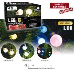 DekorTrend Melegfehér LED-es gyöngy fényfüzér 120 db 9,6m (KDG 121)