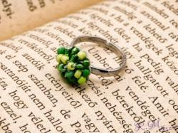 R. M. ékszer Horgolt sárga és zöld gyöngyös gyerek gyűrű (6332)