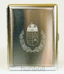 Koszorús címeres, ezüst színű gravírozott cigarettatartó, 20 szálas