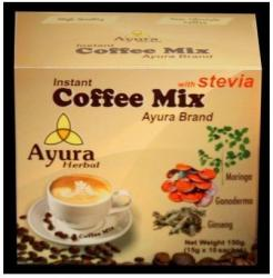 Ayura Herbal Coffee Mix, instant, steviával, 10 tasak