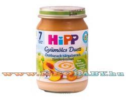 HiPP Gyümölcs Duett Őszibarack-sárgabarack túrókrémmel 7 hónapos kortól - 190g