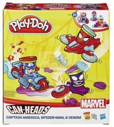 Hasbro Play-Doh Can-Heads - Marvel: Amerika kapitány és Pókember tégelyfej gyurmafigura készlet (B0606)
