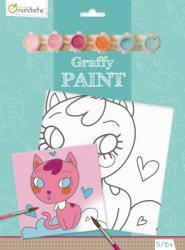 Avenue Mandarine Festővászon előre rajzolt mintával - Cica szívecskékkel