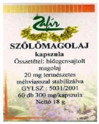 Zafír Szőlőmagolaj kapszula - 60 db