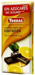 TORRAS Cukor- És Gluténmentes Narancsos Étcsokoládé Maltitollal Édesítve (75g)