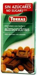 TORRAS Cukor- És Gluténmentes Mandulás Tejcsokoládé Maltitollal Édesítve (75g)
