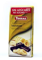 TORRAS Cukor- És Gluténmentes Banános Étcsokoládé Maltitollal Édesítve (75g)