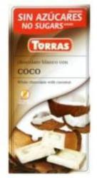 TORRAS Cukor- És Gluténmentes Kókuszos Fehércsokoládé Maltitollal Édesítve (75g)