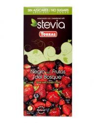 TORRAS Cukor- És Gluténmentes Erdei Gyümölcsös Étcsokoládé Steviával (100g)